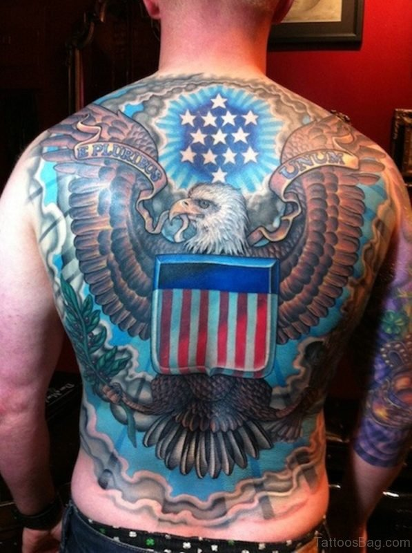 Eagle And USA Flag Tattoo On Back