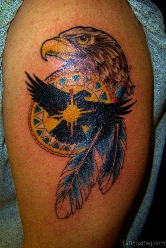 Eagle Head And Feather Tattoo