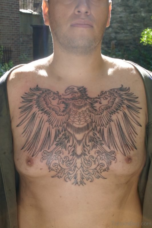Nice Eagle Tattoo Design On Chest