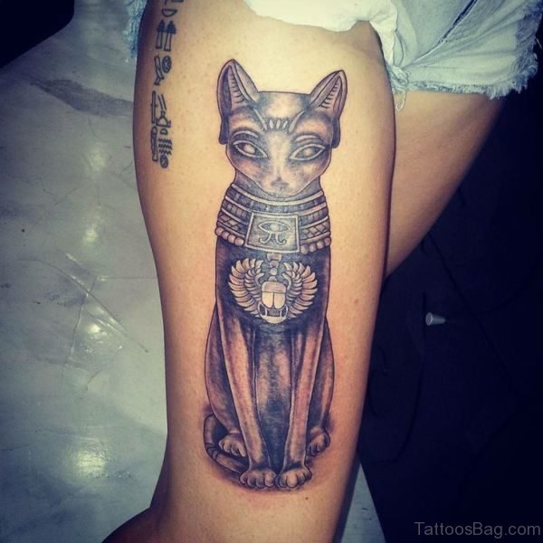 Egyptian Cat Statue Tattoo On Thigh