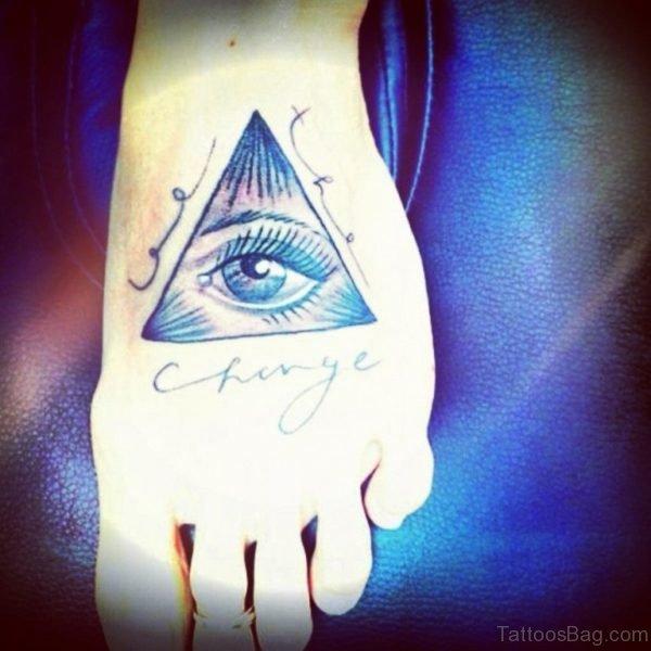 Egyptian Eye Tattoo On Foot