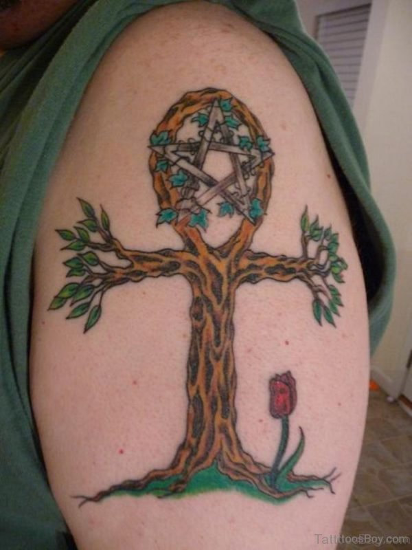 Egyptian Tree Tattoo On Shoulder