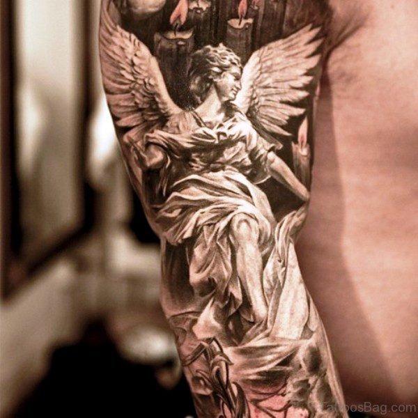 Elegant Archangel Tattoo On Shoulder