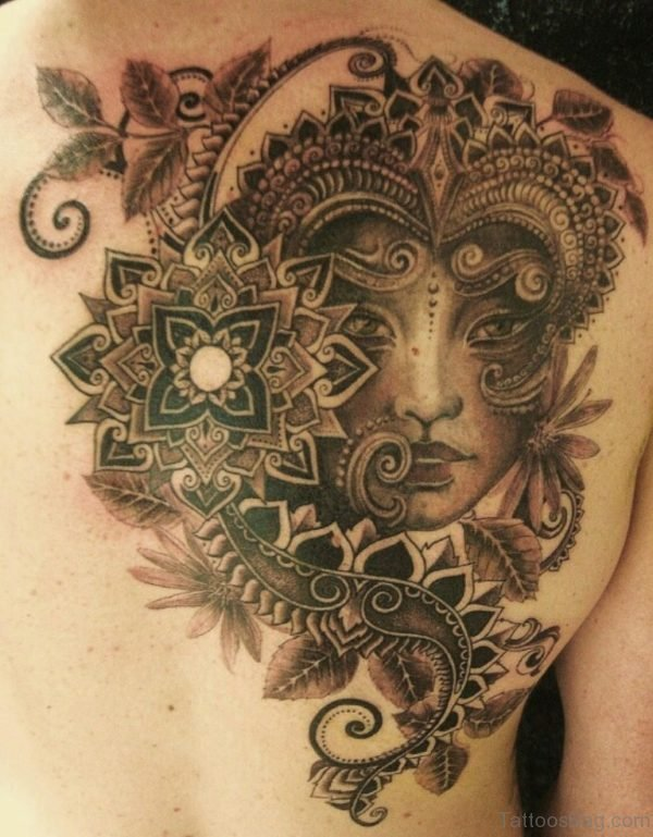 Elegant Aztec Tattoo On Back