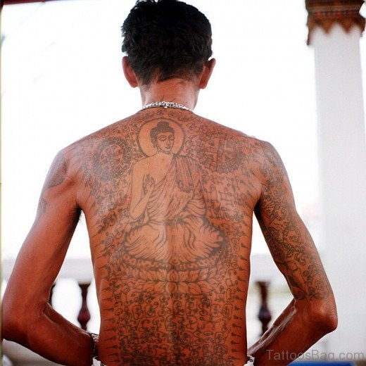 Elegant Buddhist Tattoo On Full Back Body
