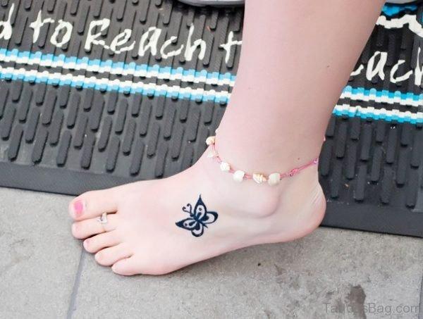 Elegant Butterfly Tattoo On Foot TB1040