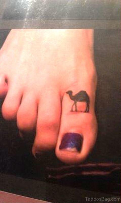 Elegant Camel Tattoo On Toe