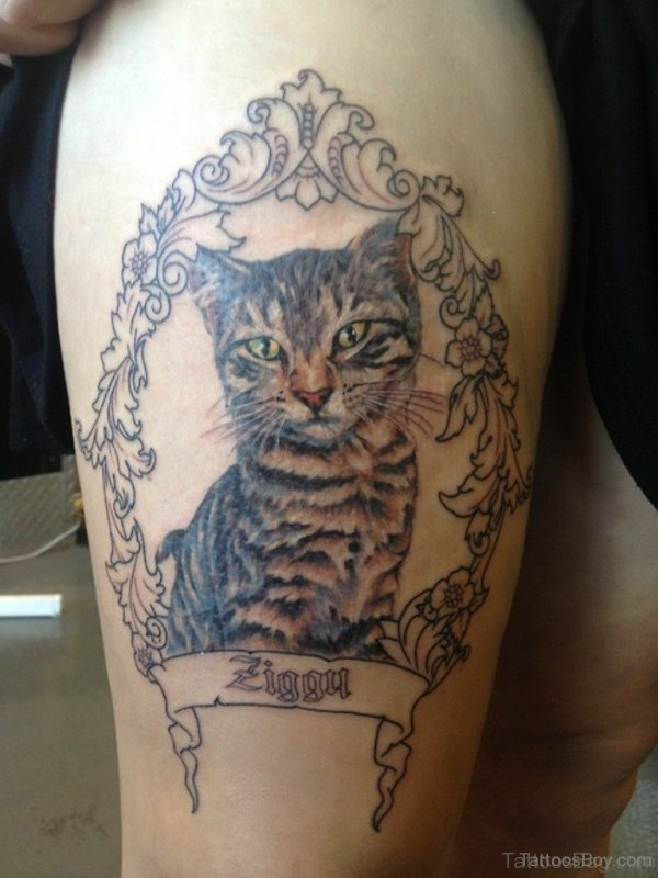 Elegant Cat Tattoo on Thigh