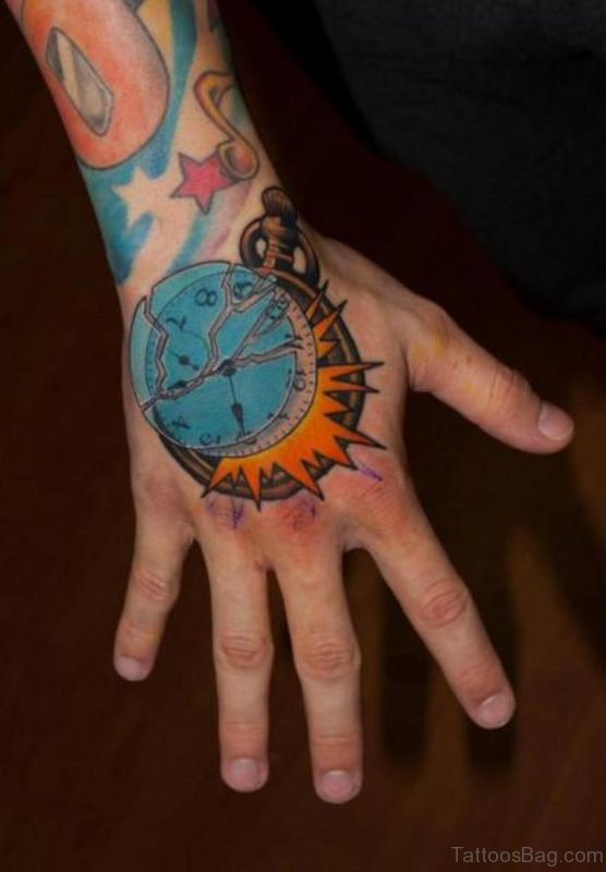 Elegant Clock Tattoo On hand