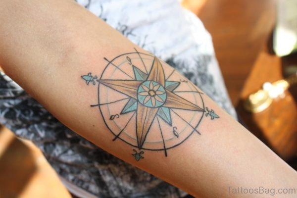 Elegant Compass Tattoo Design On Arm