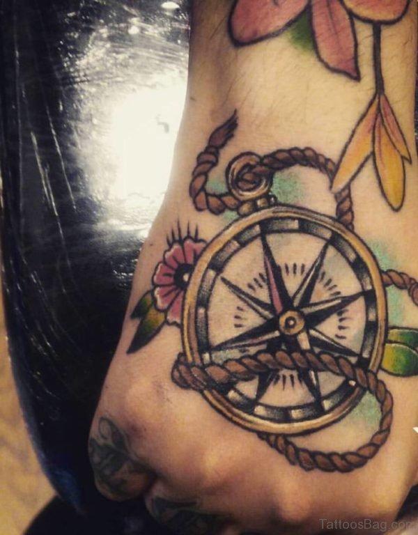 Elegant Compass Tattoo On Hand