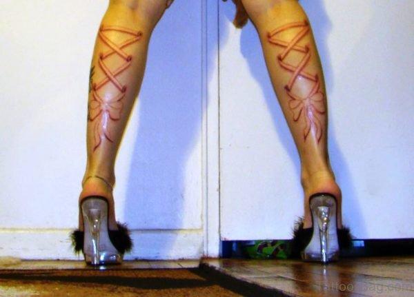 Elegant Corset Tattoos On Both Legs