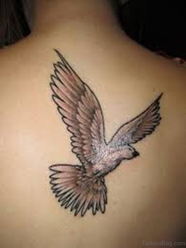 Elegant Dove Tattoo On Back
