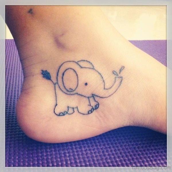 Elegant Elephant Tattoo On Ankle