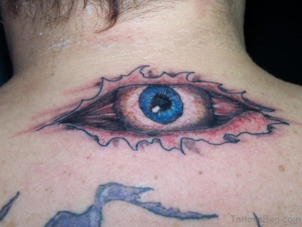 Elegant Eye Tattoo On Nape