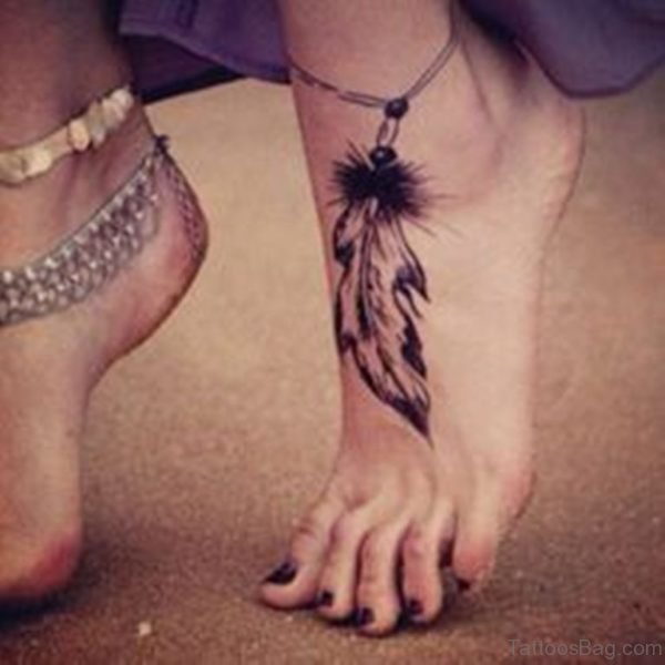 Elegant Feather Tattoo Design