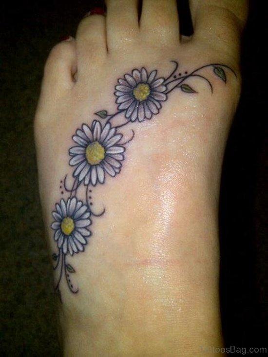 Elegant Flower Tattoo On Foot