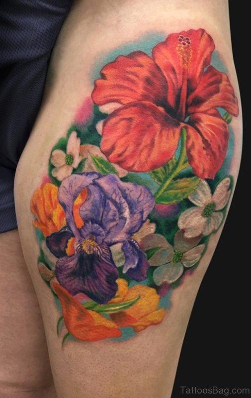Flower Tattoo On Thigh