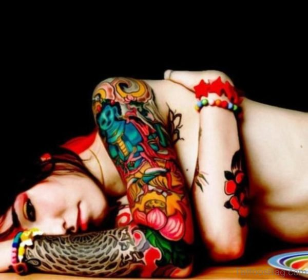 Girl Full Sleeve Tattoo