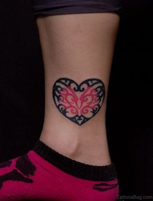 Elegant Heart Tattoo On Ankle