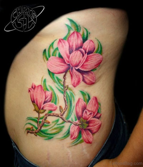 Elegant Magnolia Tattoo On Rib