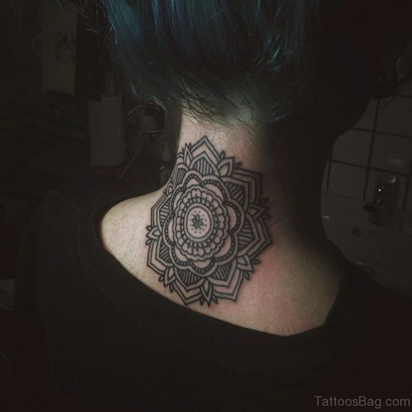 Elegant Mandala Neck Tattoo