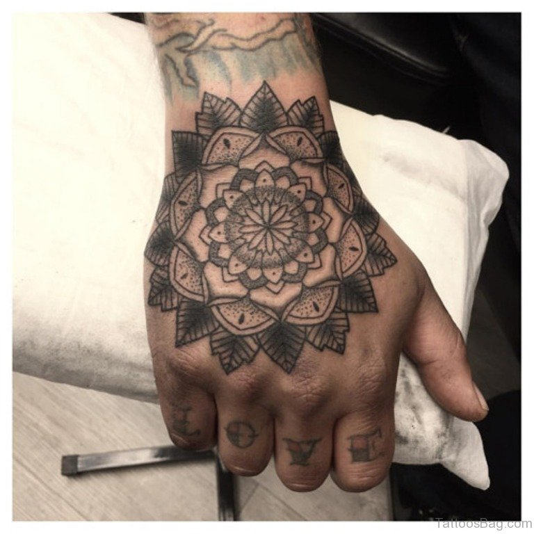 75 admirable mandala tattoos on hand. Black Bedroom Furniture Sets. Home Design Ideas