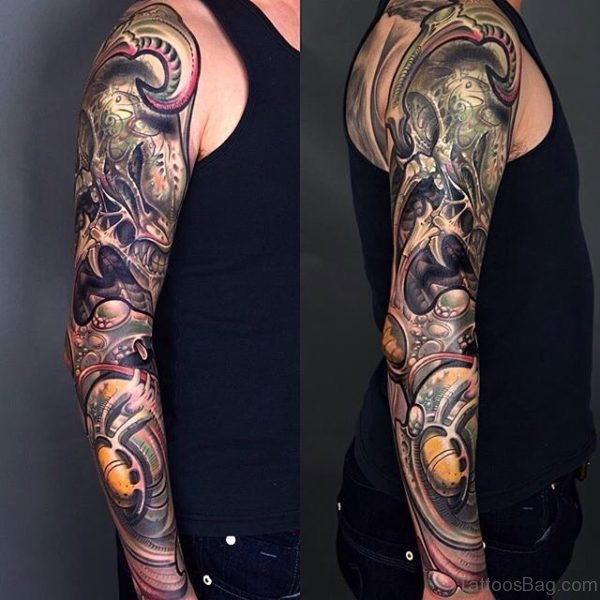 Elegant Mechanical Tattoo On Full Sleeve