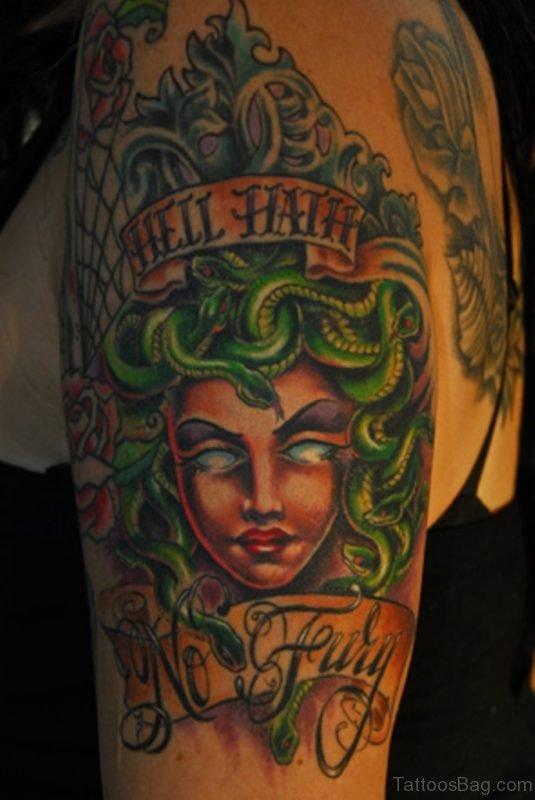 Elegant Medusa Tattoo On Shoulder