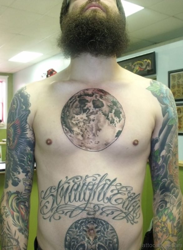 Elegant Moon Tattoo On Chest