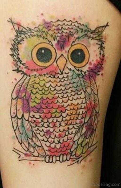 Elegant Owl Tattoo On Shoulder