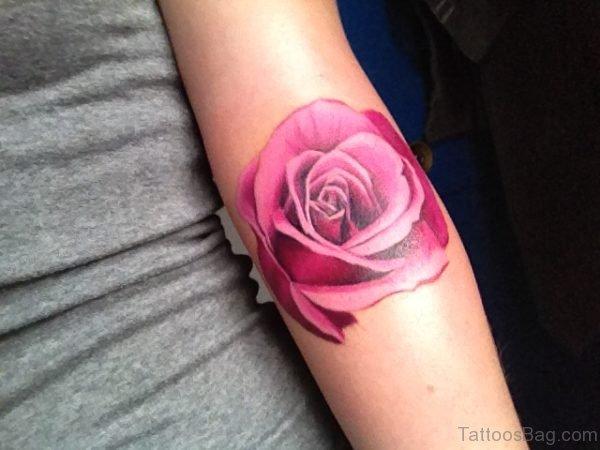 Elegant Rose Tattoo Design On Arm