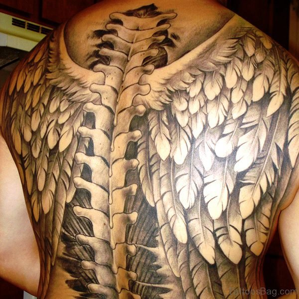 Elegant Skeleton Tattoo On Back