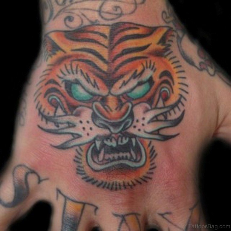 62 mind blowing tiger tattoo on hand. Black Bedroom Furniture Sets. Home Design Ideas