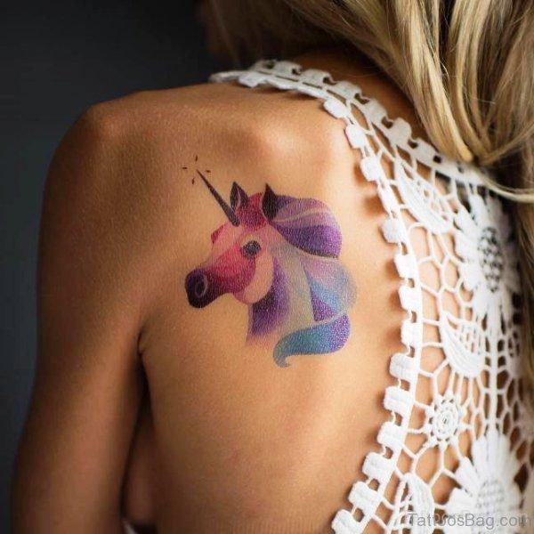 Elegant Unicorn Tattoo On Back Shoulder