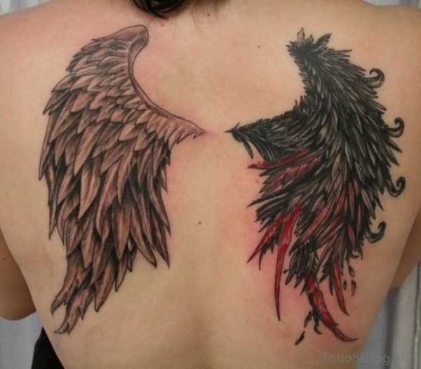 Elegant Wings Tattoos On Upper Back