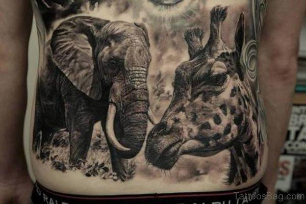 Elephant And Giraffe Tattoo On Back