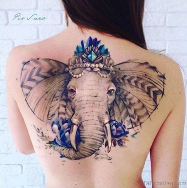 Elephant Crown Tattoo On Back