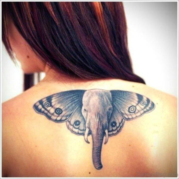 Elephant Head Tattoo On Back