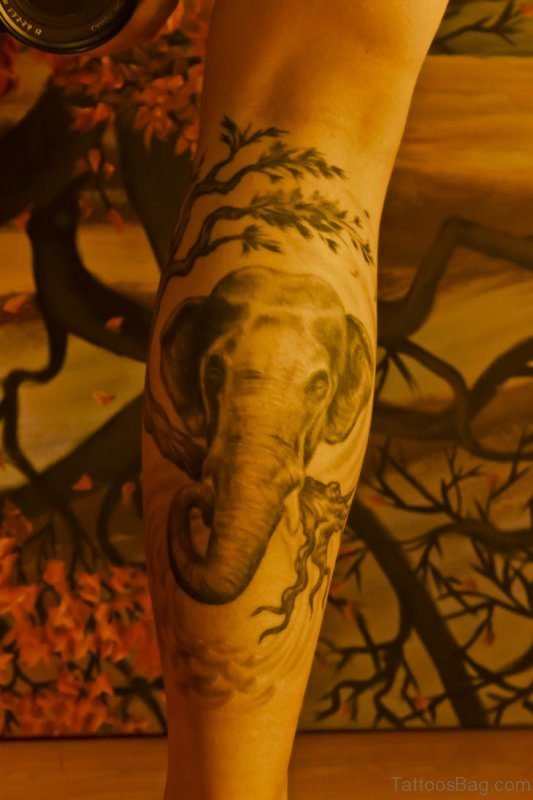 Elephant Head Tattoo On Leg