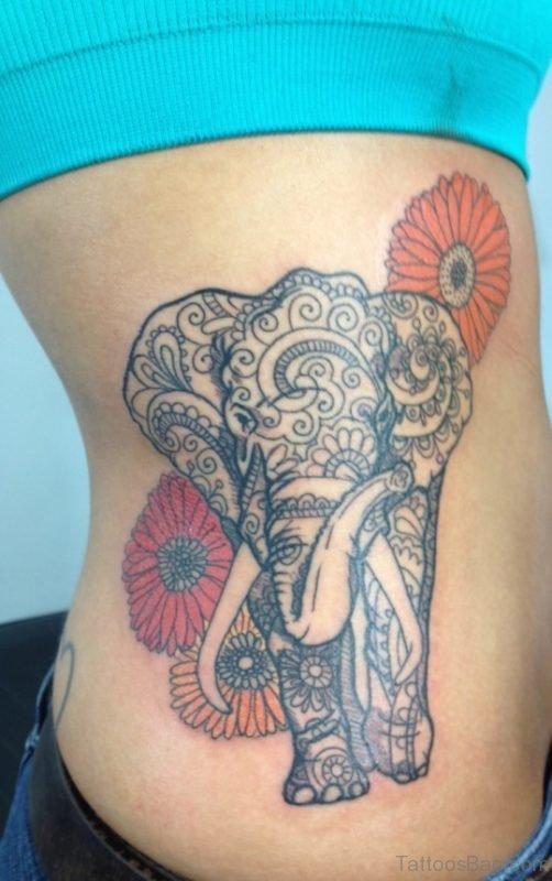 Elephant Tattoo Design On Rib