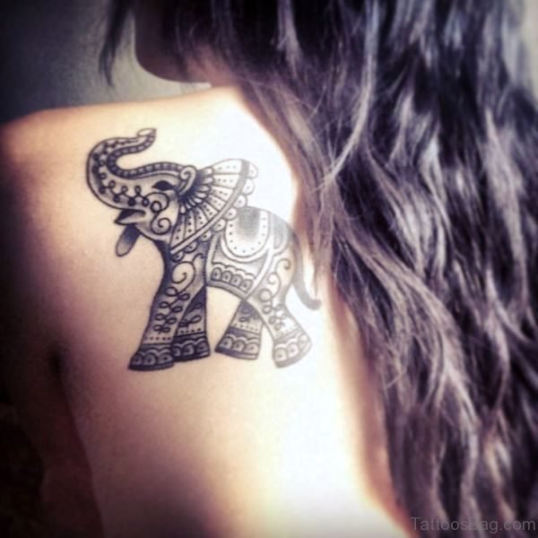 Elephant Tattoo On Back Shoulder
