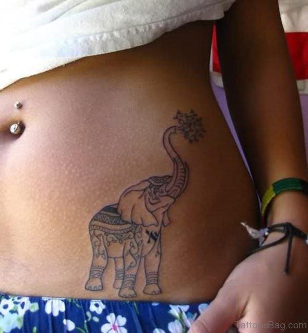 Elephant Tattoo On Waist