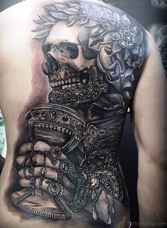 Emperor Skeleton Tattoo On Back
