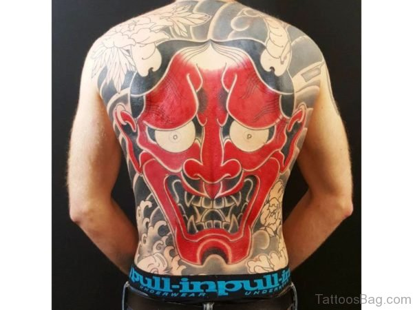 Evel Laughing Face Tattoo On Back