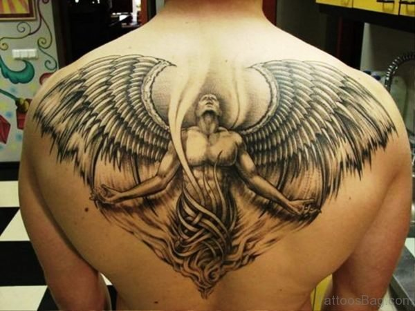 Excellent Archangel Tattoo On Back