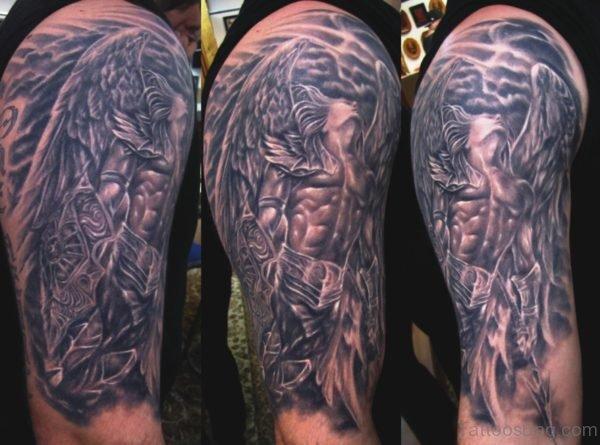 Excellent Archangel Tattoo On Shoulder