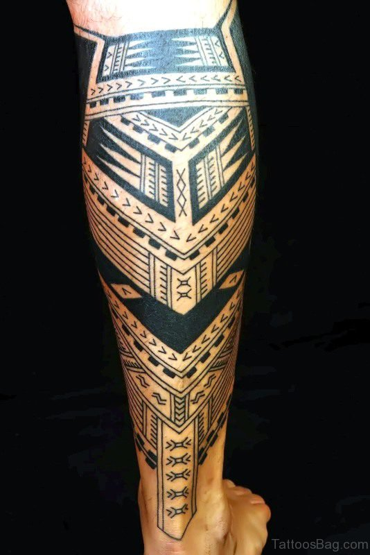Excellent Black Tattoo Design On Calf