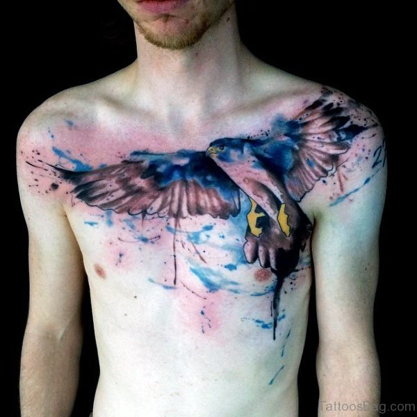 Excellent Blue Bird Tattoo On Chest