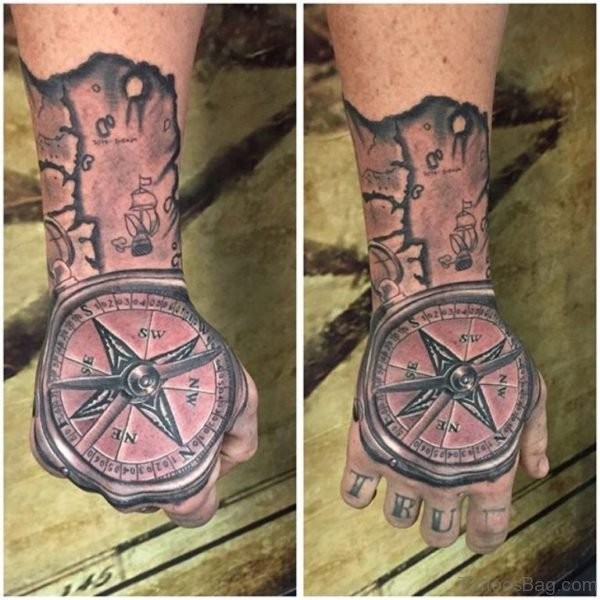 Excellent Compass Tattoo On Hand
